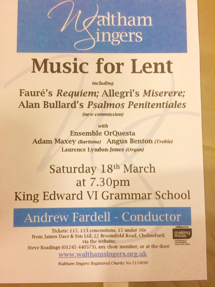 A new choral work for Lent